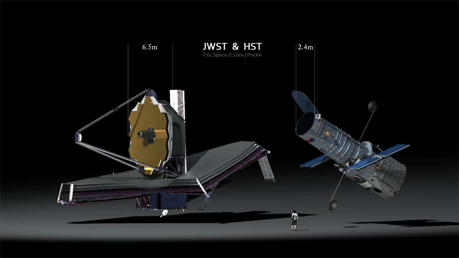 تلسکوپ هابل در کنار جانشین جدیدش تلسکوپ فضایی جیمز وب JWST