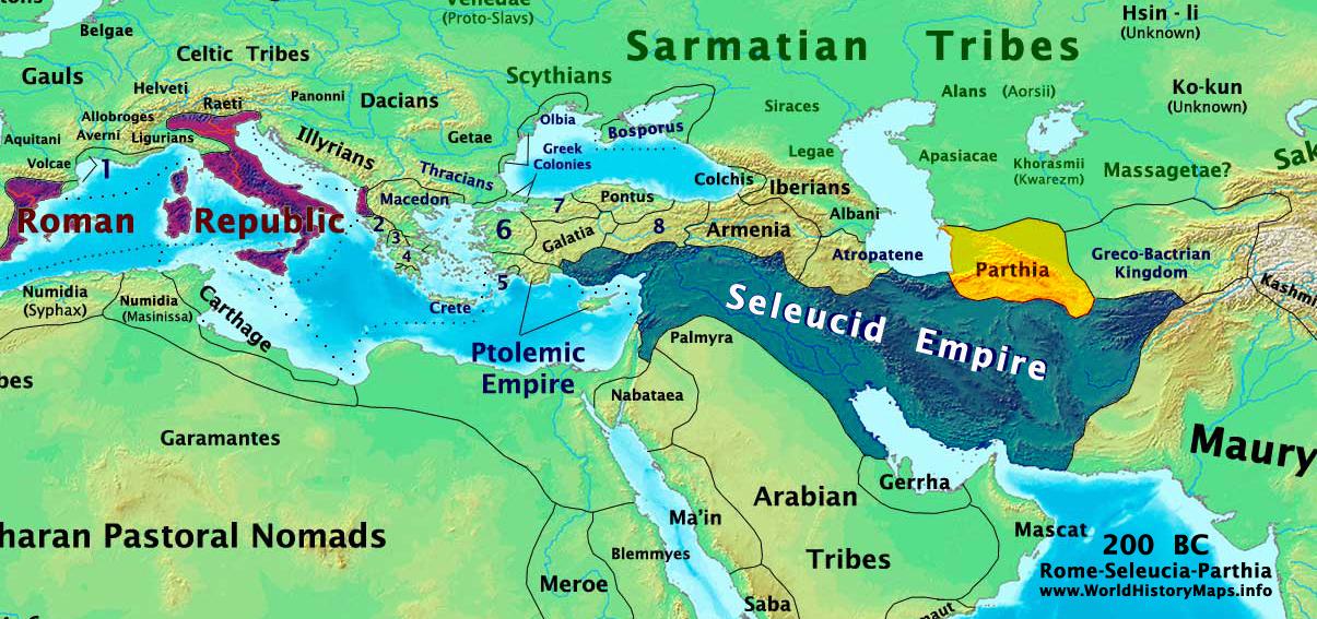 رم ، سلوکیان و اشکانیان در سال 200 قبل از میلاد