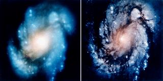 عکس گرفته شده توسط هابل از کهکشان M100 قبل و بعد از ماموریت تامیراتی اول هابل